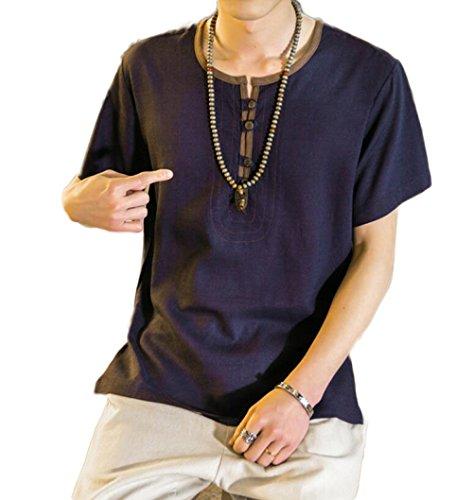 Camisa Color Chino Camiseta Corta Manga Verano De Comodidad Liso Redondo Algodón Estilo Azul Hombre Cuello 7qEaUExw