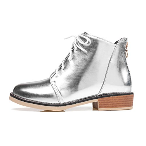 Lace Womens Flat Up With Toe Agodor Silver Autumn Winter Round Shoes Ankle Boots Zip wRqC5