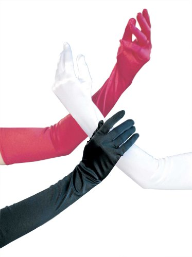 (Shirley of Hollywood SOH-219, Long Satin Spandex Gloves. O/S White)