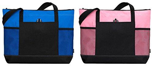 gemline-shoulder-front-pocket-zippered-tote-bags-set-royal-pink-os