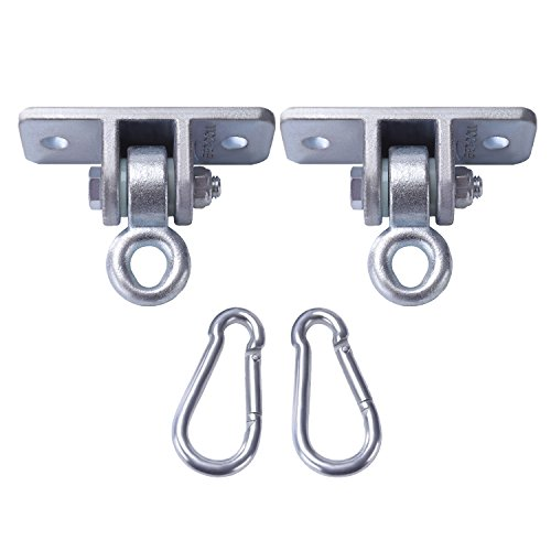 BETOOLL 2400 lb Capacity Heavy Duty Swing Hangers for Wooden Sets Playground Porch Indoor Outdoor & Hanging Snap Hooks Silver Set of 2 ()