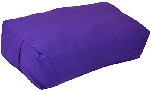 YogaAccessories Supportive Rectangular Cotton Yoga Bolster - Purple