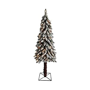 Northlight Pre-Lit Flocked Alpine Artificial Christmas Tree with Clear Lights, 4'
