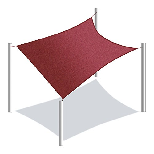 ALEKO SS03REC12X12BG Sun Shade Sail Square Water Resistant Canopy Tent Replacement for Yard Patio Pool 12 x 12 Feet Burgundy (Outdoor Diy Structures Shade)