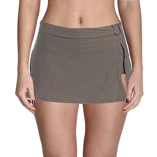 Leilani Womens Banded Skirt Swim Bottom Separates Taupe 8 (Gray Lani)