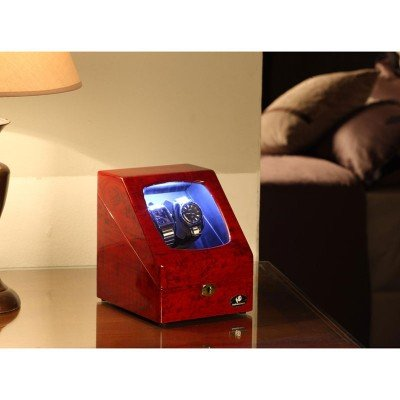 Nathan Direct Ester 4-Watch Lockable Watch Winder with 2 Automatic Winders, 2 Regular Watch Cushions, and LED Lights, Red Burl by Nathan Direct