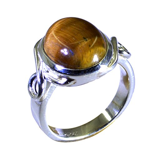 55Carat Natural Tiger Eye Sterling Silver Ring For Women Round Shape Bezel Style Size (Cushion Cut Tigers Eye Ring)