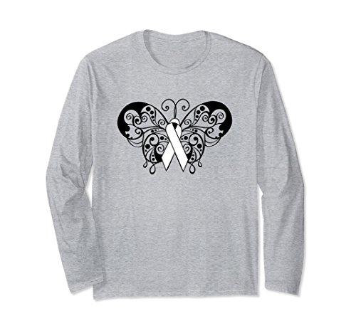 Unisex Lung Cancer Awareness Ribbon Long Sleeve Shirt Butterfly Medium Heather Grey -