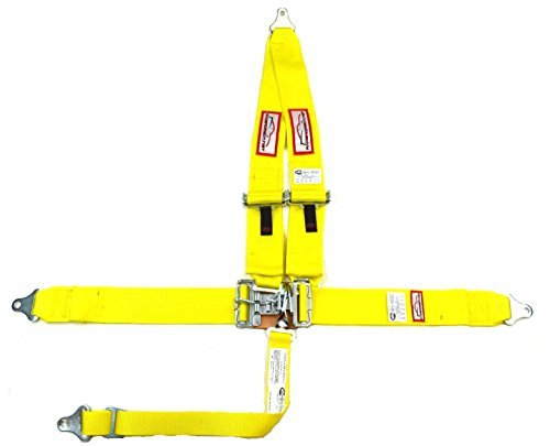 Racerdirect.net 5 Point Race Harness SFI 16.1 V Roll Bar Mount, Bolt in, Pull Down Lap Belts Color Yellow