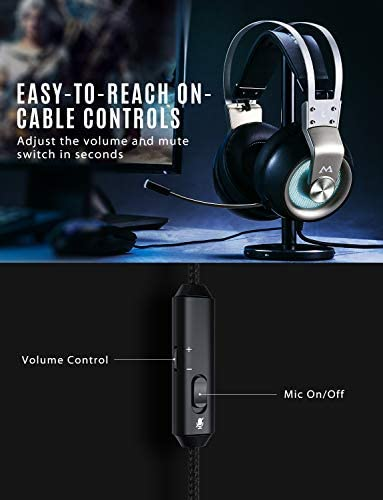 Mpow EG3 Pro – Over-Ear Gaming Headset for PC,PS4,Xbox One, Nintendo Switch,3D Surround Sound,Noise Cancelling Mic&Soft Memory Earmuff 41Nel 2BW21WL