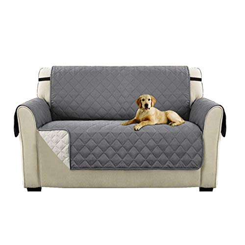 Turquoize Rich Microfiber Elegante Luxurious Reversible Sofa Furniture Protector with Straps for Pets (Love Seat - Gray/Beige, 75'' x 90'') by Turquoize