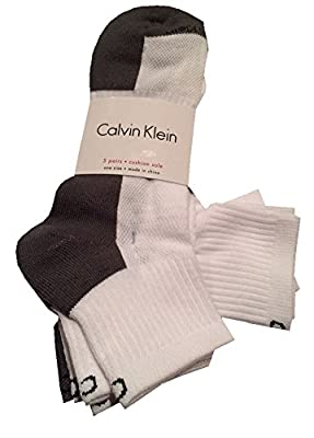 Calvin Klein Mens Half Socks, White, Grey, Size 7-12