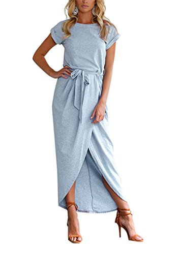 YMING Evening Party Dress for Women Solid Color Dress Crew Neck Dress Light Blue L (Best Legal Party Powders)