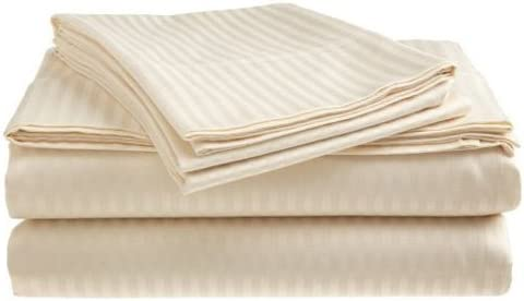 Dobby Stripe Sheet Set 400 Thread Count 100/% Cotton Sateen  Wrinkle Resistant