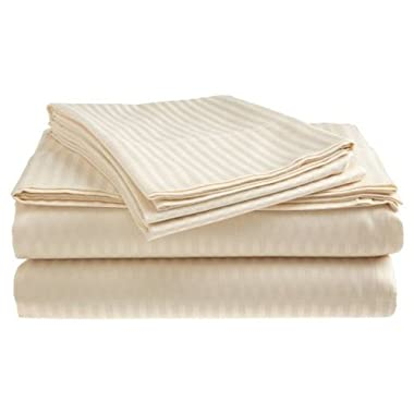 Deluxe Hotel 4-Piece Bed Sheet Set - Dobby Stripe - 100% Cotton Sateen - 300 Thread Count - Queen - Beige