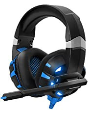 DIOWING Gaming Headset Stereo PS4 Headset,Professional Gaming Headphones with Mic, LED Light, Noise Cancelling for PS4,PS5 Controller,Xbox One,PC,Laptop