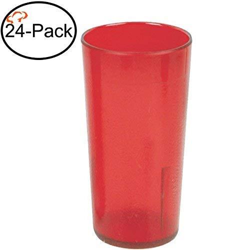 (Tiger Chef 20-Ounce, 24-Pack Red Stackable Shatter-Resistant Restaurant Beverage Cup Plastic Tumbler Set)