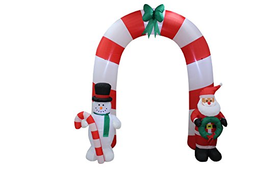8 Foot Tall Lighted Christmas Inflatable Archway Arch with Santa Claus and Snowman Cute Indoor Outdoor Garden Yard Party Prop Decoration by Blossom
