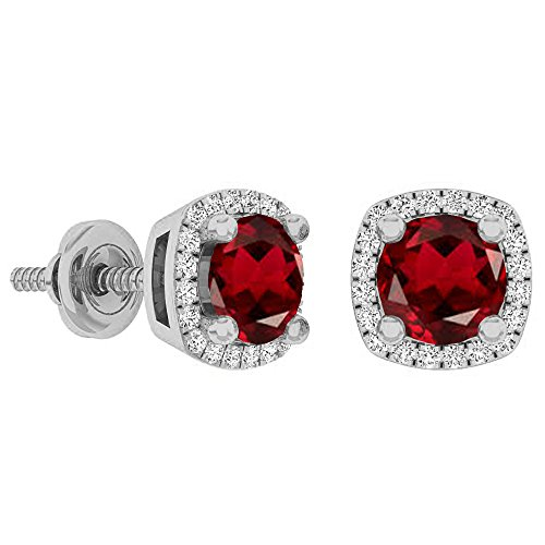 - Dazzlingrock Collection 14K 5 MM Each Round Garnet & White Diamond Ladies Halo Stud Earrings, White Gold