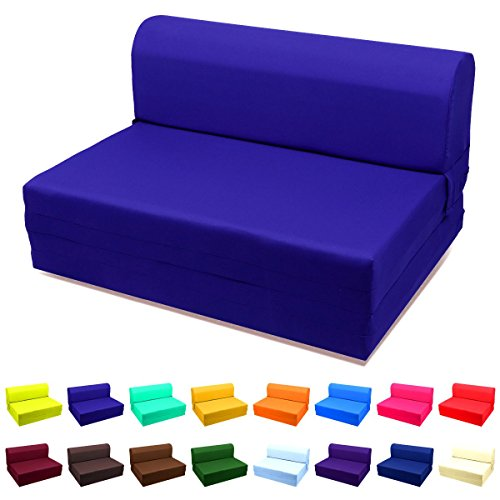 Sleeper Chair Ottoman (Single Size Sleeper Chair Folding Foam Bed,Ottoman-Royal Blue)