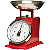 Balance de cuisine mécanique - Effet vintage avec bol amovible - Rouge - Jusqu'à 3 kg