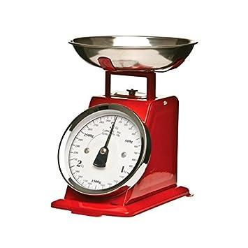 AC-Déco Báscula mecánica de Cocina - Efecto Vintage (Cuenco extraíble - Rojo - hasta 3 kg: Amazon.es: Hogar