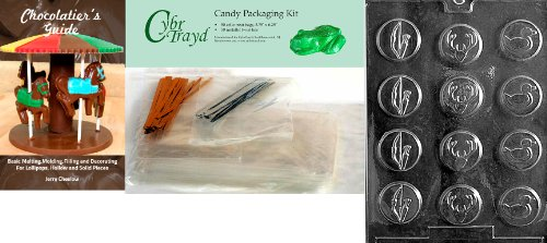 Cybrtrayd Bow and Arrow Hunter Mints Chocolate Mold with Chocolatier's Bundle, Includes 50 Cello Bags, 25 Gold & 25 Silver Twist Ties and Chocolatier's Guide (Bow Tie Mint Molds)