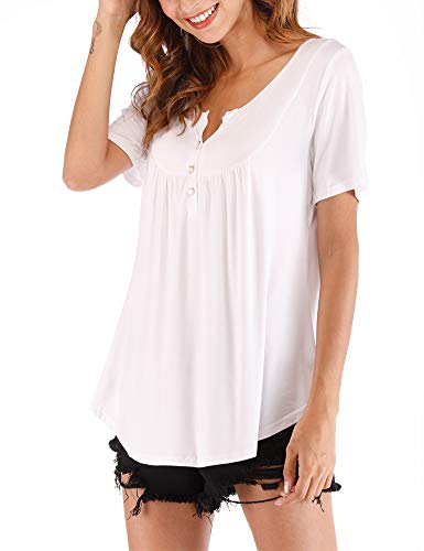 Hioinieiy Women's Summer Casual Short Sleeve Tunic Top V Neck Button Up T Shirt Loose Flare Flowy Swing Blouse White XL ()
