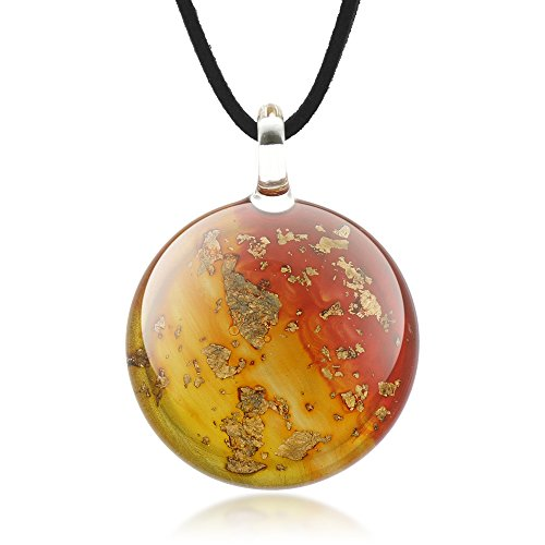 Chuvora Murano Glass Golden Stardust Sunset Sky Red Yellow Round Pendant Necklace, 18-20 inches