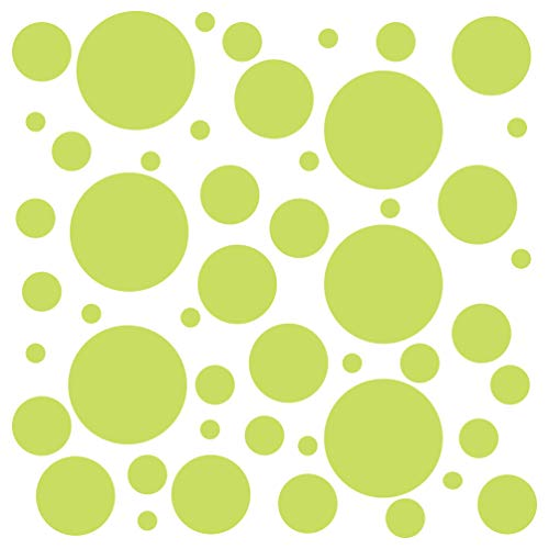 Set of 300 (Chartreuse) Vinyl Wall Decals - Assorted Polka Dots Stickers - Removable Adhesive Safe on Smooth or Textured Walls - Round Circles - for Nursery, Kids Room, Bathroom Decor