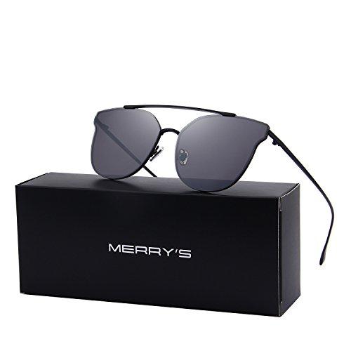 MERRY'S Women Cat Eye Mirrored Sunglasses Metal Frame Sun glasses S8089 (Black, ()