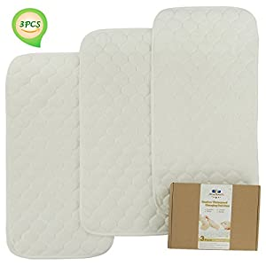 Bamboo Quilted Thicker Longer Waterproof Changing Pad Liners...