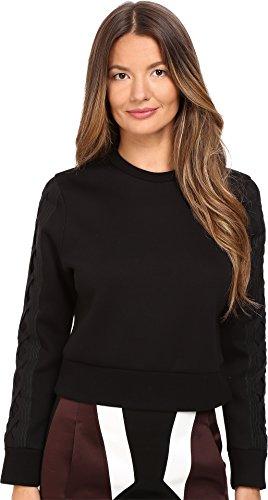 Neil Barrett Women's Skinny Short Laced Sweatshirt Black Sweatshirt by Neil Barrett