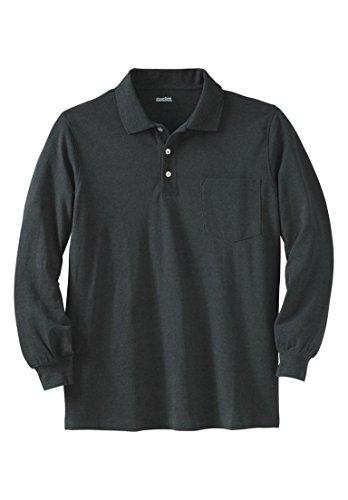 Polo Shirt Collar Pique - KingSize Men's Big & Tall Long-Sleeve Pique Polo Shirt With Pocket, Heather