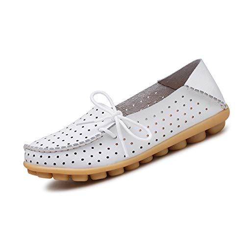 (Women New Lace Up Casual Shoes Women Flat Heel Cow Muscle Outsole Flat Soft Women Cutouts Genuine Leather White)