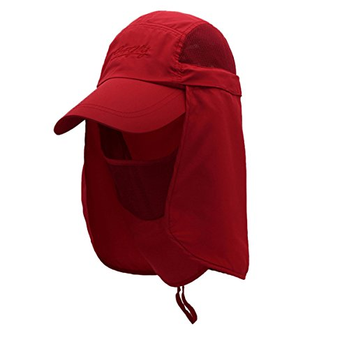 Surblue Quick-Drying Outdoor Cap UV Protection Sun Hats Fishing Hat Neck Face Flap Hat UPF50+ Red