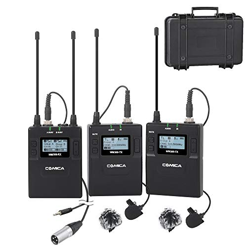 Wireless Microphone System Comica CVM-WM300A 96-Channels Professional UHF Dual Wireless Lavalier Lapel Microphone for Canon Nikon Sony Panasonic Fuji DSLR Camera/XLR -