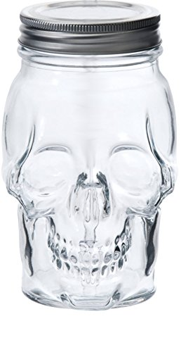 (Circleware 07450 Skull Face Glass Mason Jars with Silver Lid, Set of 6 Heavy Base Beverage Drinking Cups Glassware for Water, Beer, Juice, Bar Novelty Halloween Decorations Gift, 16 oz,)