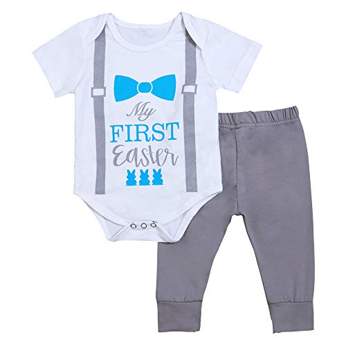 Newborn Infant My First Easter Outfit Baby Boys Bowtie Bunny Print Bodysuit Short Sleeve Romper Gray Pants Clothes Set(size70/0-3m)