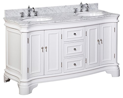 Kitchen Bath Collection KBC-A602WTCARR Katherine Double Sink Bathroom Vanity with Marble Countertop, Cabinet with Soft Close Function and Undermount Ceramic Sink, Carrara/White, 60