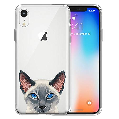 - FINCIBO Case Compatible with Apple iPhone XR 6.1 inch, Clear Transparent TPU Silicone Protector Case Cover Soft Gel Skin for iPhone XR - Blue Gray Point Siamese Cat