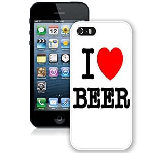 NEW Fashion Custom Designed Cover Case For iPhone 5S I Love Beer White Phone Case