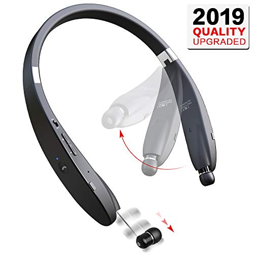 Bluetooth Headphones Wireless Neckband Headset - Sweatproof Foldable Earphones with Mic, Retractable Earbud and 16 Hours Play Time for iPhone Android Cellphone Tablets TV