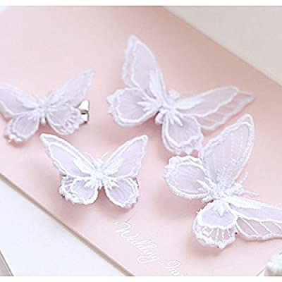 Tinksky Butterfly Hair Clips Lace Hair Bows Pins Hair Accessories for Women Girls, Pack of 10, White