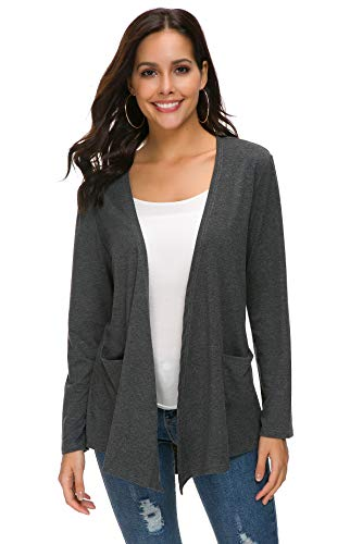 TownCat Women's Loose Casual Long Sleeved Open Front Comfy Cardigans with Pocket (M, Grey)