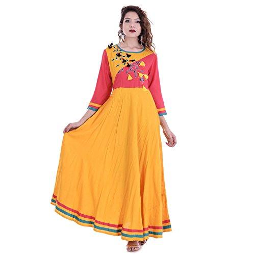 Chichi Indian Women Kurta Kurti 3/4 Sleeve Medium Size Plain Round Anarkali Yellow-Aboli Top by CHI