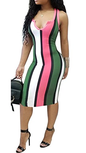 Women Sleeveless V Neck Colorful Striped Bodycon Pencil Party Club Midi Summer Dress Pink M