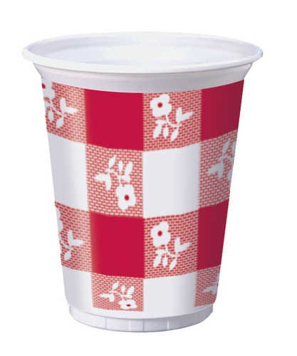 25-Count 16-Ounce Plastic Cups, Red Gingham by Creative Converting (Image #1)