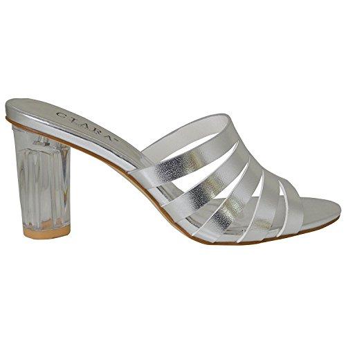 Ciara Women's Lillian Slip-On Strappy Glass Heel Mule Sandals Silver b7xAonH