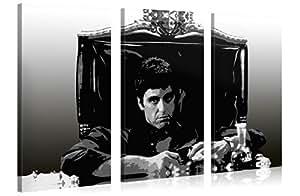 Foto en lienzo SCARFACE Impresión artística en lienzo, creado por Tom Harris, Cuadros en lienzo previamente fijados, listos para ser colgados. AmazonES - Comparable con un cuadro al óleo - y no a un póster o cartel 130x80cm #e1765